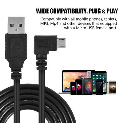 USB 2.0 to Left Right 90 Degree Angle Micro USB Charging Cable For Smartphone LJ