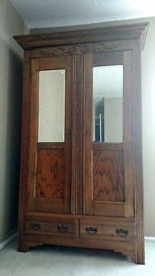Antique Primitive Armoire Slat Back 2 Draw & Mirror With Key Pick Up Only NJ  ✞