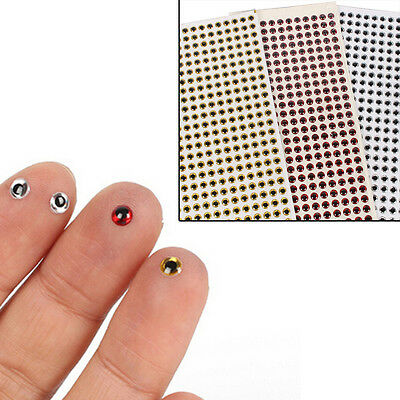 500PCS 3-6mm Fish Eyes 3D Holographic Lure Eyes Fly Tying Jigs Crafts Dolls RS