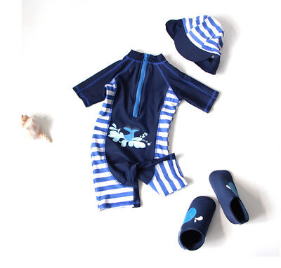 New Kid Boy Girl Beatch Soft Swimwear Rash Guard Swimsuit+Hat Girl 1-7Y Swimming
