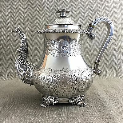 Rare Antique Victorian Teapot Old Sheffield Silver Plate Ornate Engraving 1840s
