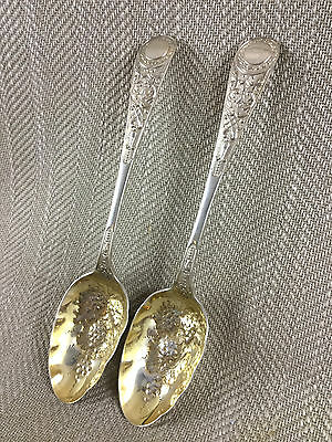 Antique Berry Spoons Silver Plate Serving Large Pair 19th C Ornate Engraved