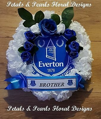Everton Football Club Funeral Wreath Grave Memorial Tribute Artificial Flowers