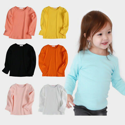 AU Baby Kids Boys Girls Long Sleeve Cotton T-Shirt Casual Soild Tops Blouse 1-7Y