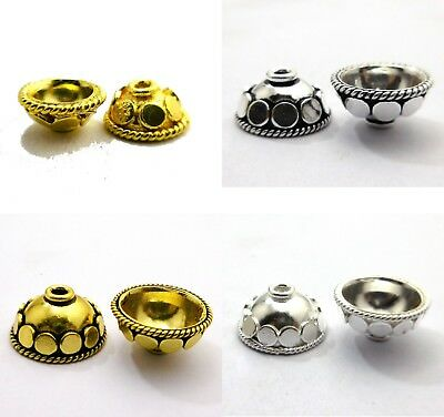 Solid Copper Bali Bead Cap Antique Sterling Silver Plated 18K Gold Plated  264