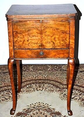 Antique Victorian Burr Walnut Sewing Box - FREE Shipping [PL2613]