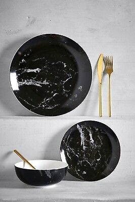 Marble Effect 12 Piece Dinner Set Modern Stylish Dining Dishes Plates Bowls New
