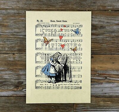 Alice in Wonderland Print Music Sheet Ivory Linen Paper 300gsm A4