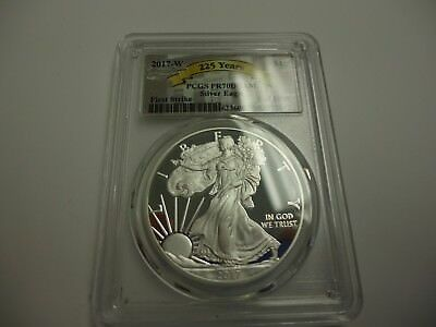2017 W $1 Proof Silver American Eagle PCGS PR70 DCAM FS 225th Anniversary Label