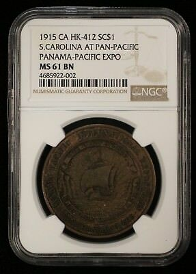 1915 CA HK-412 SC Pan-Pacific Expo One Dollar Coin NGC MS61 BN - 01132