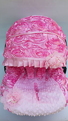 infant car seat cover canopy cover set fit most seat 3D baby Pink rosy minky dot