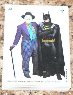 1989 Topps BATMAN MOVIE series 2 - 22 sticker set numbered 23-44. Stickers only.