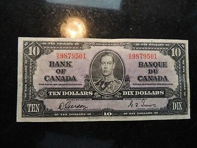 1937 BANK OF CANADA $ 10 TEN DOLLARS GORDON TOWERS B/D 9879501 BC-24b