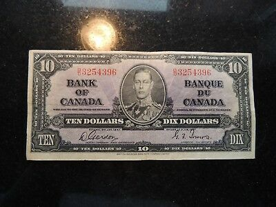 1937 BANK OF CANADA $ 10 TEN DOLLARS GORDON TOWERS B/D 3254396 BC-24b