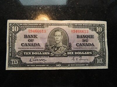 1937 BANK OF CANADA $ 10 TEN DOLLARS GORDON TOWERS B/D 9466613 BC-24b
