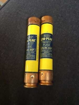LOT OF 2 BUSS LOW-PEAK LPS-RK-35SP 35 AMP FUSE Used Free Shipping