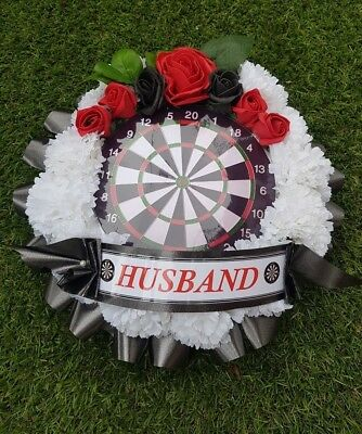 Dartboard Funeral Wreath - Artificial Silk Flower Darts Player Memorial Tribute