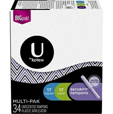 U by Kotex Security Tampons, Multi-Pak Regular + Super, Unscented, 34 Tampons
