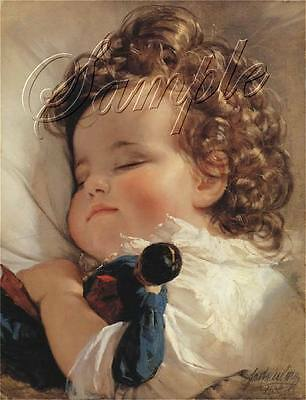 Sleeping Baby Child Girl Curls Antique Doll French Canvas Art Print Large