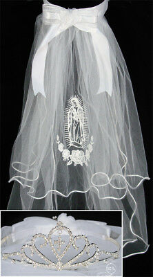 NEW First Communion Veils with Virgin Mary Tiara de Primera Comunion con imagen