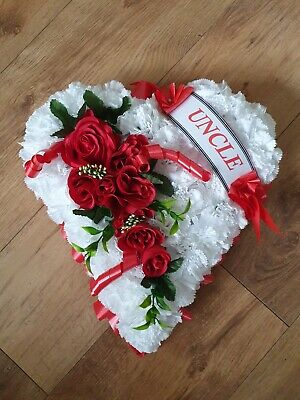Valentine Day Heart Shaped Funeral Wreath Artificial Silk Flower Grave Memorial