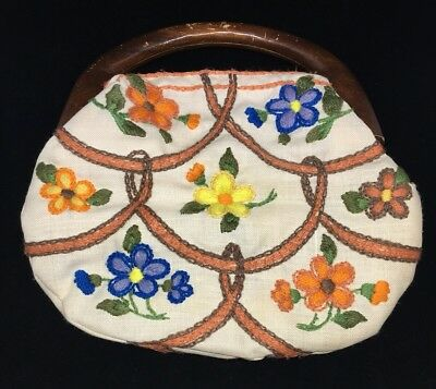 vintage Bermuda Bag Wooden Handle w/ cover handmade embroidered interchangeable