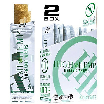 High Hemp Organic Wraps 2 Boxes 50 Pouches (100 Wraps) NON GMO ORIGINAL