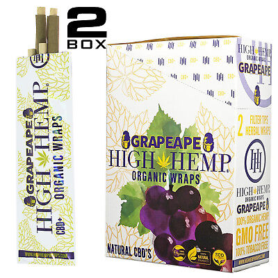 High Hemp Organic Wraps 2 Boxes 50 Pouches (100 Wraps) NON GMO GRAPE APE
