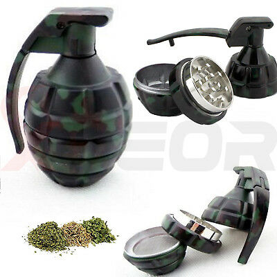 Camo Hand Grenade Spice Herb Grinder Magnetic 3 Piece Pin Handle Tobacco Mill