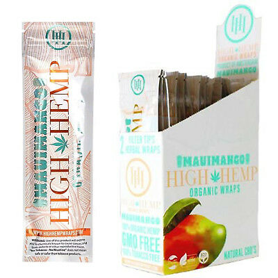Maui MANGO High Hemp Organic Herbal Wraps Hemp 25 Pouches (50 Total Wraps)