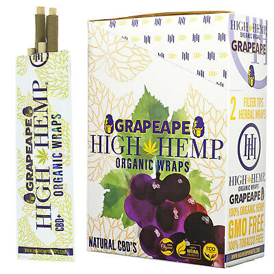 High Hemp Organic Wraps Full Box GRAPEAPE WRAP VEGAN 25 (2 WRAP) 50 WRAPS