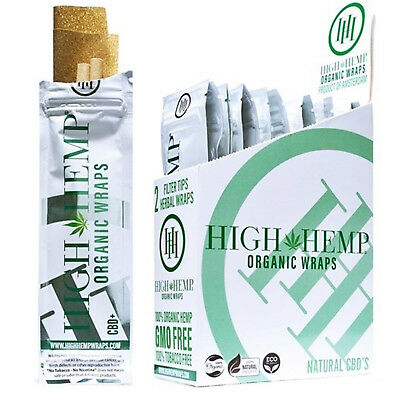 High Hemp Organic Wraps VEGAN Hemp Full Box 25 Count (2 Wrap) Pouches 50 Wraps