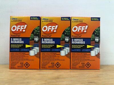 Lot of 3 Off! PowerPad Mosquito Lamp Refills Insect Repellent 4 Hours Protection