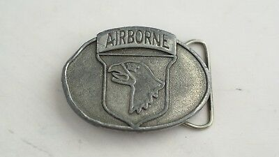 101st Airborne Division US Army Military Belt Buckle Vintage 1983 Solid Rare