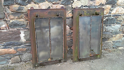 Pair of antique large cast iron skylight roof windows.