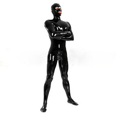 Full Cover Latex Bodysuit Men Fetish Rubber Zentai Catsuits with Mask Sock Glove