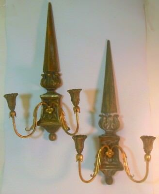 vtg Pair PALLADIO Italy Candle SCONCES Carved Wood Tole Metal EMPIRE OBELISK