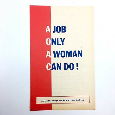 WW2 Salvage Division War Dept 1943 Patriotic Booklet 'A Job Only a Woman Can Do'