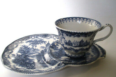 Blue and White Tea and Toast / Snack Set / Tennis Set - Blue Willow-like