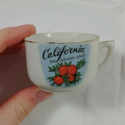 ba Vintage Tea Cup White California The Golden State Oranges Blue Gold Rim 19