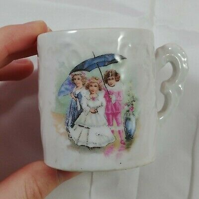 ba Vintage Tea Cup White Embossed Floral 3 Victorian Women Ceramic 18