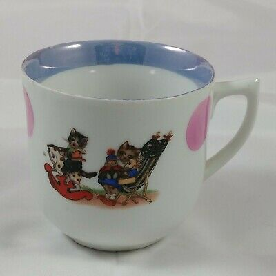 ba Vintage Tea Cup White Purple Dots Cats Kitten Horse Ceramic 17