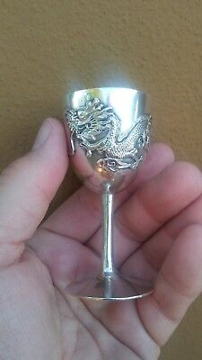 Antique Chinese Export Silver DRAGON Cup Goblet