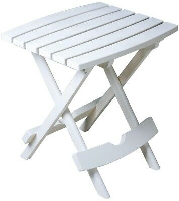 Patio Side Table Folding Small Accent Coffee Lawn Pool Deck Porch Outdoor  White