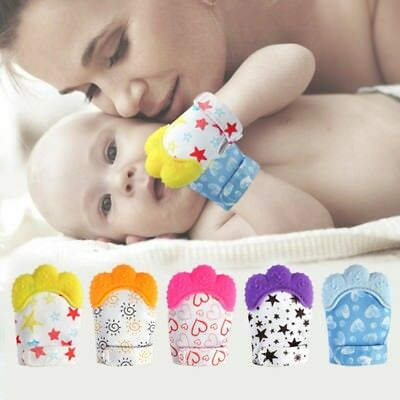 Baby Glove Silicone Teether Pacifier Teething Wrapper Sound Candy Mitten Nursing