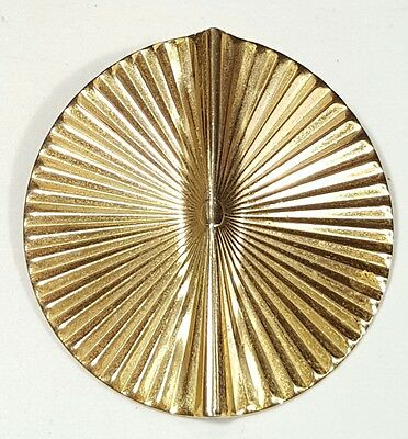 Vintage Jewelry Scarf Brooch Gold Tone Metal Button Design Unique Classy #1964