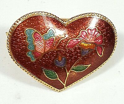 Vintage Scarf Brooch Gold Tone Metal Heart Cloisonne Flower Butterfly Unique#...