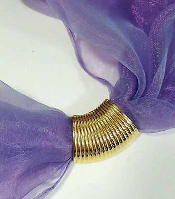 Vtg Jewelry Scarf Brooch/Holder  Gold Tone Metal Classy Design Beautiful #4601