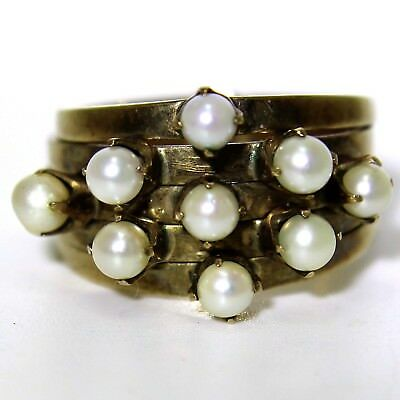Retro Multi Band Pearl 14K Yellow Gold Cluster ring size M ~ 6 1/4 14ct