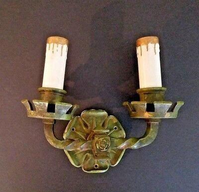 ARTS CRAFTS Bronze WALL SCONCE Light Original Paint Antique